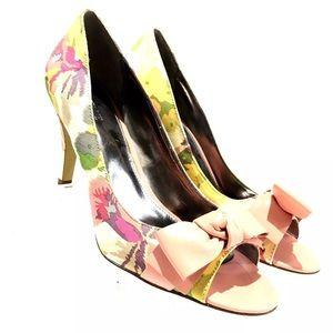 Alfani Women's Shoes Open Toe Pumps Pink Bow Thin